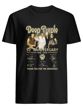 Deep purple 52nd anniversary 1968-2020 signatures thank you for the memories shirt