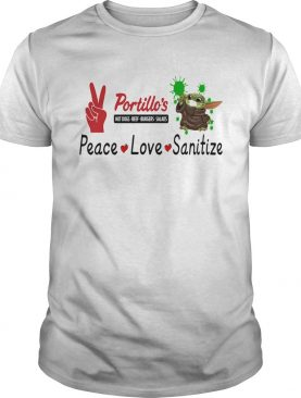 Baby yoda portillos hot dogs beef burgers salads peace love sanitize shirt