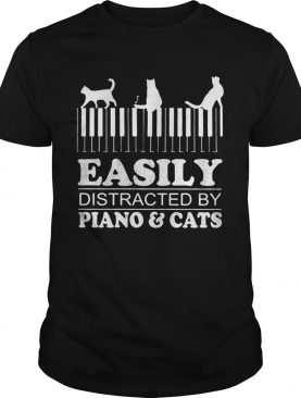 Easily distracted by piano and cats shirt