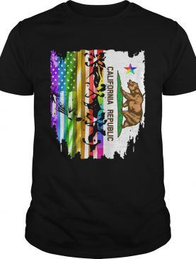 Lgbt california republic and american flag independence day shirt