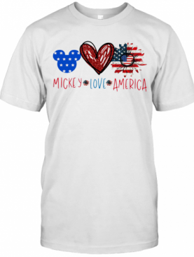 Mickey Mouse Love America Independence Day Sunflower T-Shirt