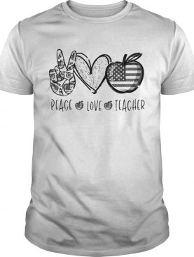 Peace love teacher american flag independence day shirt