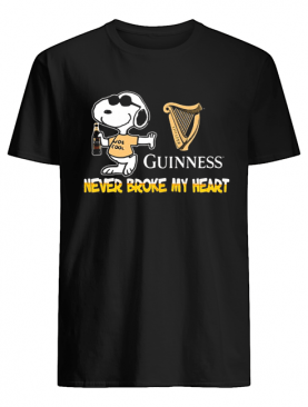 Snoopy guinness beer never broke my heart shirt