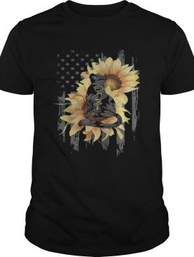 Sunflowers cat mom american flag independence day shirt