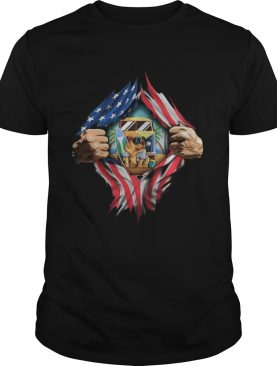 Blood insides camping pug american flag independence day shirt