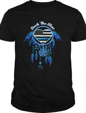 Dream catcher back the blue heart american flag independence day shirt