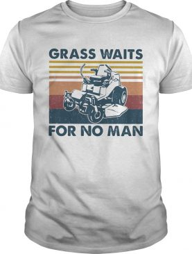 Lawn mower grass waits for no man vintage retro shirt