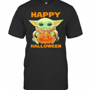 Baby Yoda Hug Pumpkin Happy Halloween T-Shirt Classic Men's T-shirt