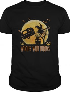 Happy halloween camping witches with hitches moon shirt