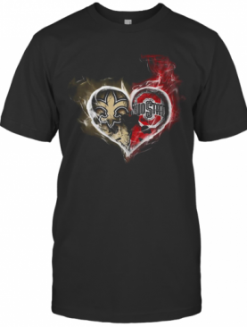 Heart New Orleans Saints And Ohio State Buckeyes T-Shirt