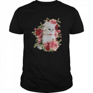 Cat White With Flower  Classic Men's T-shirt