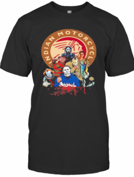 Halloween Horror Characters Indian Motorcycle Logo T-Shirt