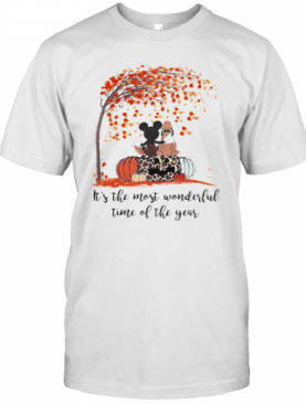 Mickey Mouse And Pluto It'S The Most Wonderful Time Of The Year Leaves Tree Pumpkins Leopard T-Shirt