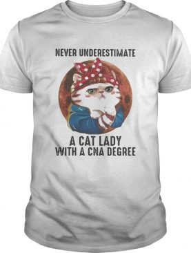 Never Underestimate A Cat Lady With A Cna Degree Moon shirt