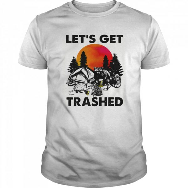 Raccoon let's get trashed sunset  Classic Men's T-shirt