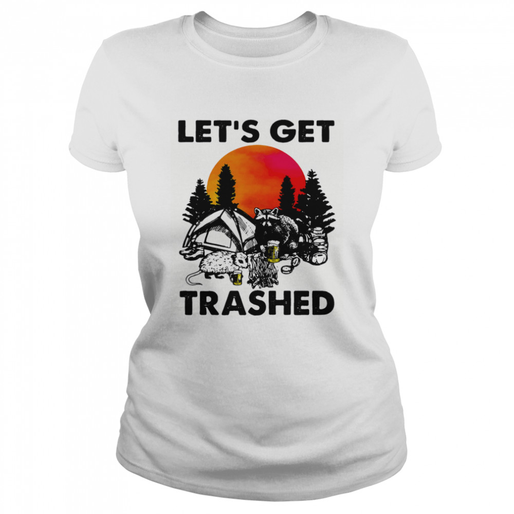 Raccoon let's get trashed sunset  Classic Women's T-shirt