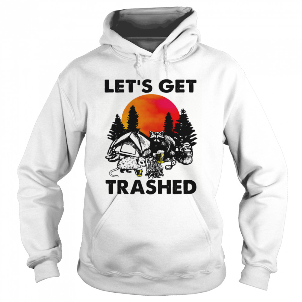 Raccoon let's get trashed sunset  Unisex Hoodie