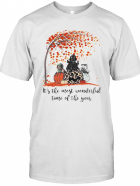 Star Wars Darth Vader It'S The Most Wonderful Time Of The Year Leaves Tree Pumpkins Leopard T-Shirt