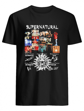 Supernatural movie characters signatures shirt