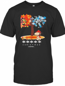 Snoopy And Woodstock Fall Leaves Snowflakes Tree Merry Christmas Loading T-Shirt