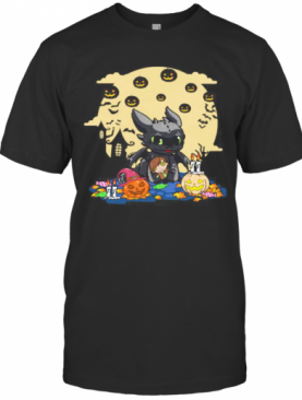 Toothless Happy Halloween Pumpkins Moon T-Shirt
