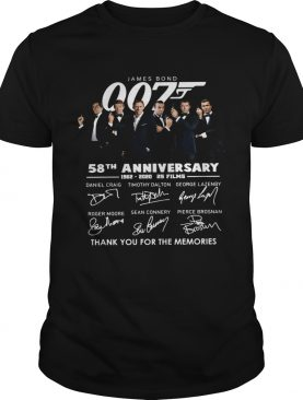 James Bond 007 58th Anniversary 1962 2020 2s Films Thank You For The Memories Signatures shirt