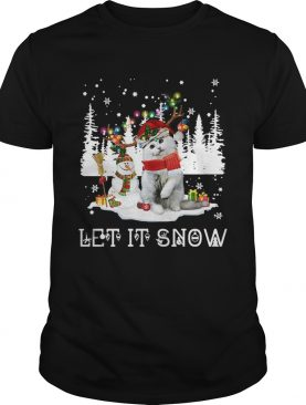 Snowman And Cat Let It Snow Ugly Christmas shirt