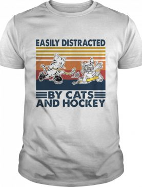 Easily distracted by Cats and Hockey vintage shirt
