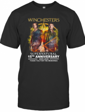 Winchesters Supernatural 15Th Anniversary 2005 2020 Thank You For The Memories Signature T-Shirt